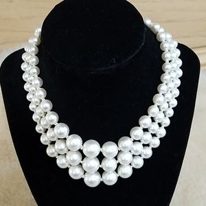 Vintage White Faux Pearl 3 Strand Necklace